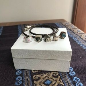 Leather Pandora Bracelet with Pandora Charms